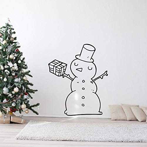 wZUN Feliz muñeco de Nieve y Regalo calcomanía de Pared Pegatina de Navidad decoración de Arte de Pared de Sala de Estar Familiar 57X68cm