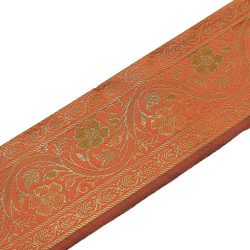 Zari-Band, gewebt, indische Kunstseide, Bordüre, Spitzenband, Pfirsichfarben
