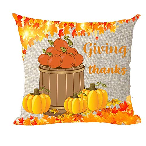 Happy Thanksgiving Day Harvest Autumn Apple Maple Leaf Pumkin Cotton Linen Throw Pillow Covers Case Cushion Cover Sofa Decorative Square inch Decorative Pillow Wedding Birthday 18X18Inches/45X45cm