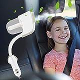 Riloer Difusor de aceite de coche portátil purificador de aire difusor de aceites esenciales con doble cargador USB para coche, mini humidificador ultrasónico de aire, color blanco