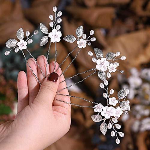 Edary Braut Hochzeit Blume Haarnadeln Perle Brautschmuck Hochzeit Haarschmuck Silber Haarspangen für Frauen und Mädchen (5 Pack)