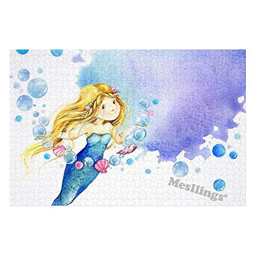 Mesllings Jigsaw Puzzles for Adults 1000 Pieces - Fairy Tale Mermaid Cartoon Wooden Jigsaw Puzzles for Adults Entertainment for Creative Gift Home Decor (Without Frame)