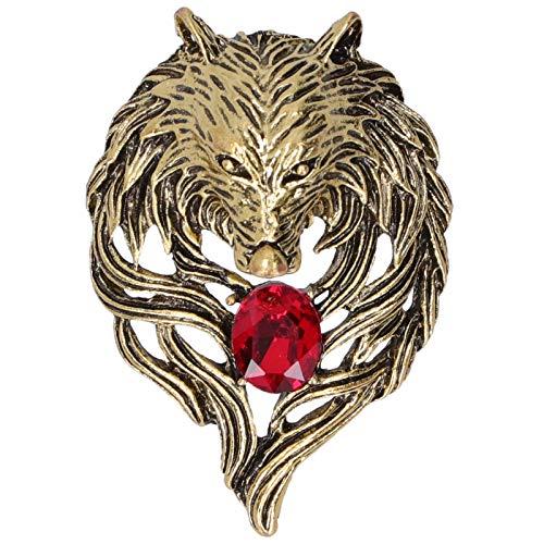 Shanrya Broche, Pin de Solapa Broche de Cabeza de león para Familia para Novia(Oro)