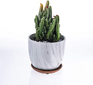 White Ceramic Plant Pot, 5.6 Inch Marble Design Modern Nordic Style Oval Ceramic Planter, Indoor and Outdoor Plant Pot for Succulent/Cactus/Flowers with Drainage Hole and Plate