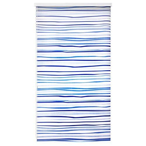 casa pura Design Duschrollo Blaue Streifen | viele Größen | schnelltrocknend | Deckenbefestigung mit Halbkassette | halbtransparent, blau gestreift | 80x240cm (BxL)
