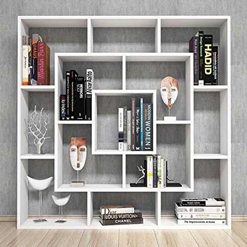 Homemania Libreria Frame, Legno, Bianco, 125x20x125 cm
