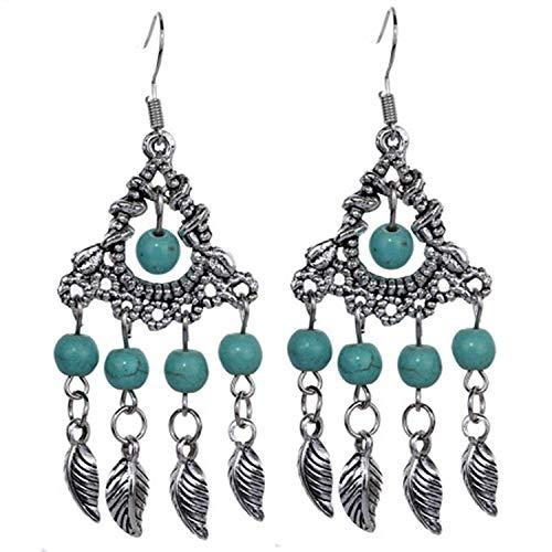 Pendientes de borla de moda de joyería de estilo étnico retro pendientes de turquesa con colgante de hoja