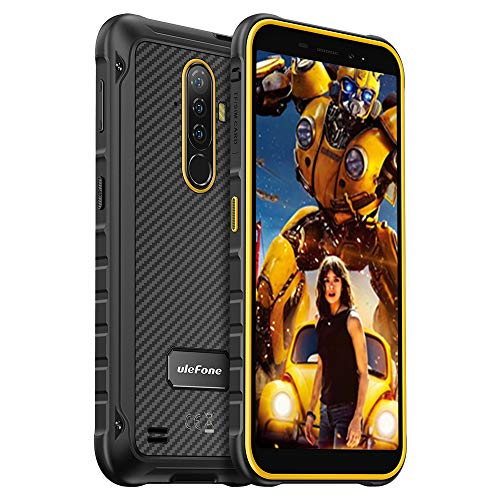 Rugged Phones Unlocked Ulefone Armor X8, Waterproof Rugged Cell Phones Unlocked 5.5'' HD Android 10 Quad Camera 13MP+8MP, 4GB+64GB, Dual Sim Rugged Smartphone, 5080 mAh,Face Unlock, NFC, (Orange)