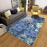 WCCCW Patrón Floral Liso Azul, impresión Digital, Accesorios para el hogar cálido, sofá, Sala de Estar, Sala de Estar Alfombra-140x200cm para el salón fácil de Limpiar Igual Que la Foto