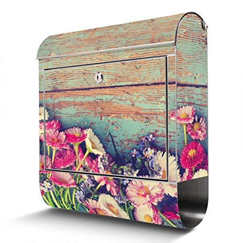 BANJADO Edelstahl Briefkasten mit Zeitungsfach, Design Motivbriefkasten, Briefkasten 38x43,5x12,5cm groß Blumenpfücken