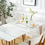 OstepDecor Custom 48 x 24 Inch Clear Table Cover Protector, 1.5mm Thick Desk Cover Plastic Table Protector Clear Table Pad Tablecloth Protector, Clear Desk Pad Mat for Coffee Table, Writing Desk 4ft