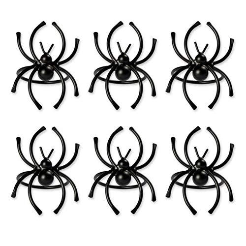 6 Stück/Set Halloween Serviettenringe, Spinnen Servietten Ringhalter, Gruselige Halloween Tischdekoration, Schwarz