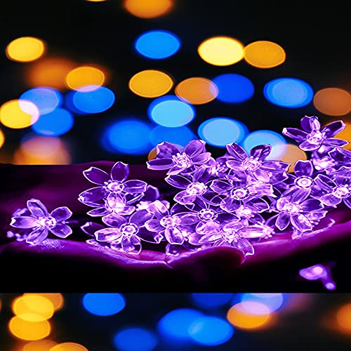 Catena Luminosa Solare Esterno 50LED Stringa Esterno Impermeabile 8 modalità Illuminazione fiore di ciliegio illuminazione decorativa per Giardino, Portico, Albero, Matrimonio, Festa (Viola)