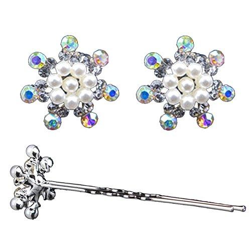 Miya® Juego de 4Glamour precioso copos de nieve con perla blünte en...
