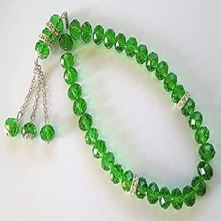 Royal 120 ct Green Emerald 33 Faceted 8 mm Prayer Beads Bracelet Unique Handmade