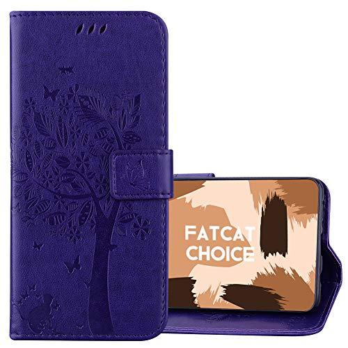 FatcatChoice Funda para Huawei Y5 II,Carcasa de Tipo Libro con Ranuras para Tarjetas de Soporte y Solapa Cubierta Carcasa Protectora Cartera Soporte Función Case (Púrpura)