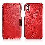 ICARER Hülle passend für Apple iPhone XS & iPhone X, Handyhülle mit echtem Leder, Hülle, Schutz-Hülle klappbar, dünne Handytasche, Slim Cover, Vintage Rot