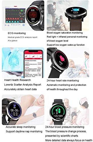 Reloj inteligente IP67 resistente al agua, con pantalla táctil completa, monitor de sueño, monitor de frecuencia cardíaca, ECG + PPG + SPO2 ECG sangre oxigeno-B