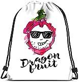 N / A Línea de Mochila con cordón de Dragon Fruite Crazy con Rosa Acuarela Abstracta y Handwri Bolsa de lavandería Gym Yoga Bag 36 x 43cm / 14.2 x 16.9 Pulgadas