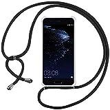 Ingen Funda con Cuerda para Huawei P10 Lite - Carcasa Transparente TPU Suave Silicona Case con Colgante-Negro