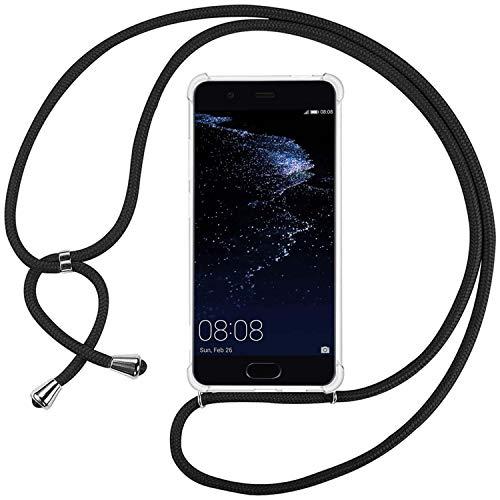 Ingen La Custodia Trasparente per Cellulare per Huawei P10 Lite con Cordino può Essere trasportata Casualmente Come Una Borsetta o Una Tracolla Quando esci-Nero