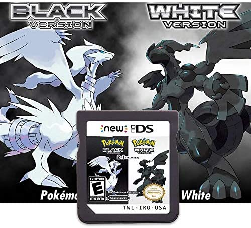 Pokemon Black White Version Games Card 2 in 1 Compatible with Nintendo DS 2DS 3DS DSI 2DSXL product image