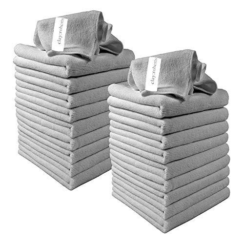 Clay Roberts Mikrofasertücher, 20 Stück, Grau, Mikrofaser Reinigungstücher für Küchen, Häuser und Autos