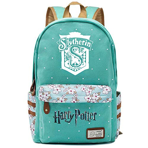 NYLY Mochila Floral Harry Potter Mochila Slytherin,Teen Boys Girls Fashion School Bag Bolso para portátil M (Verde Claro) Estilo-12