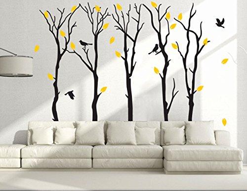 "Suonady 5 Trees Wall Deals - Poplar Sticker Mural Wallpaper for Kid Baby Nursery Livingroom Vinyl Removable DIY Decors 90.6x70.9"",Black"