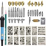 Upgraded Wood Burning Kit 47PCS,Wood Burner Pyrography Pen with Adjustable Temperature/Soldering Tips/CarvingKnife/Embossing/Stencil+St