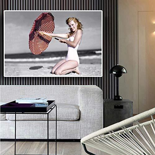 SADHAF Marilyn Monroe Strand Leinwand Poster und Drucke auf Leinwand auf Wandkunst Wohnzimmer A3 50x70cm gedruckt