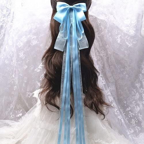 xiangwang Estilo chino cinta blanca novia Hanfu hembra largo cos traje streamer antiguos adornos princesa accesorios para el cabello antiguo (color: azul cielo 75cm)