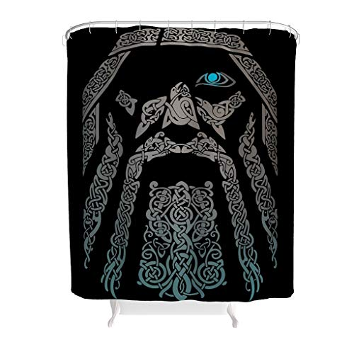 Xuanwuyi Viking Man Durable Bath Curtain Design with Hooks – Style Machine Washable Shower Curtain for Bathroom Decor Set, weiß, 150x200cm