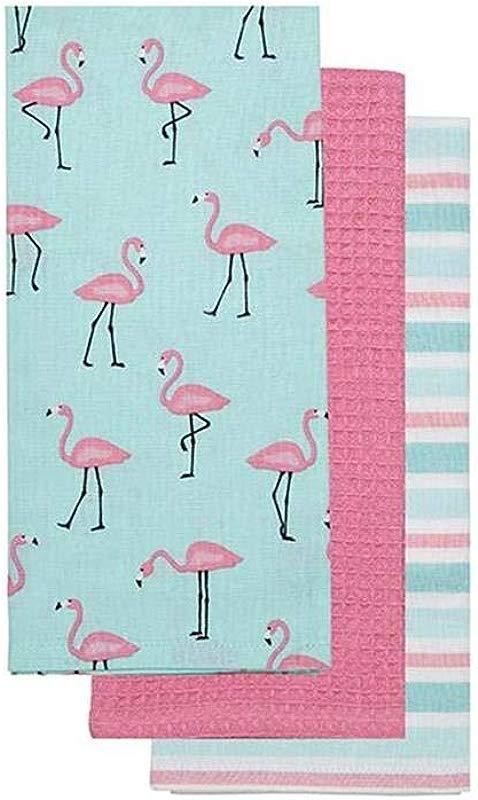 KIG Exclusives Flamingo Print Pink Blue Tea Kitchen Towel Set Of 3