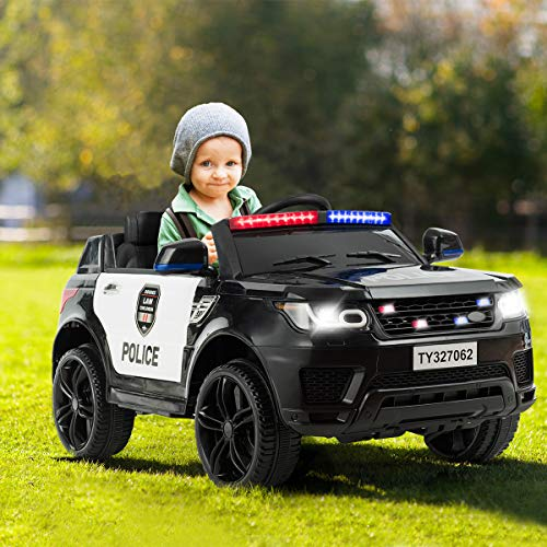 Costzon Kids Ride on Car, 12V Battery Powered Electric Police Truck w/ 2.4G Remote Control, Siren, LED Headlights, Microphone, Double Open Doors, Spring Suspension, SUV Vehicle for Children (Black)