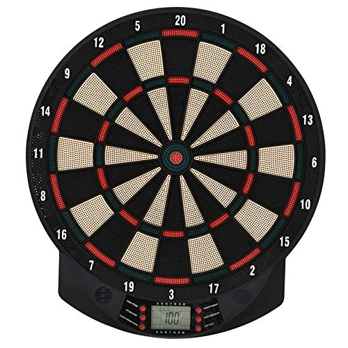 HOMCOM Elektronische Dartscheibe Dartboard Dart-Set mit 6 Darts 30 Dartköpfe 26 Spiele und 185 Trefferoptionen für 8 Spieler Schwarz+Orange 39,5 x 2,2 x 44 cm