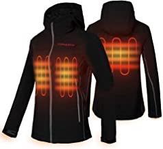 CONQUECO Women's Heated Jacket Slim Fit Electric Hoodie Jacket with Battery Pack