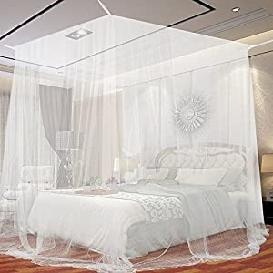 JTDEAL Mosquitera para Cama, 4Esquinas Adecuado para Cama Individual o Matrimonio Anti mosquitos para el Hogar o de Vacaciones - Blanca