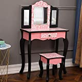 Goujxcy Kids Vanity Set, Wood Makeup Vanity Table and Stool Set Makeup Dressing Table Set with Mirror & Drawer for Girls