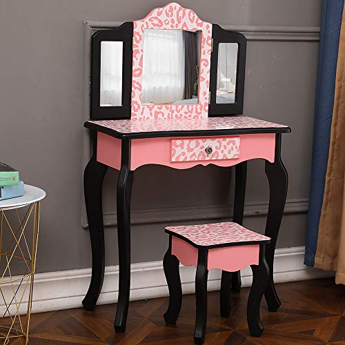 TBRAND Three-Fold Mirror Single Drawer Arc Feet Children Dresser Red Leopard Print
