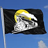 Zudrold Outdoor Flags Sunset Steam Train und Eisenbahnflagge für Sportfan Fußball Basketball Baseball Hockey