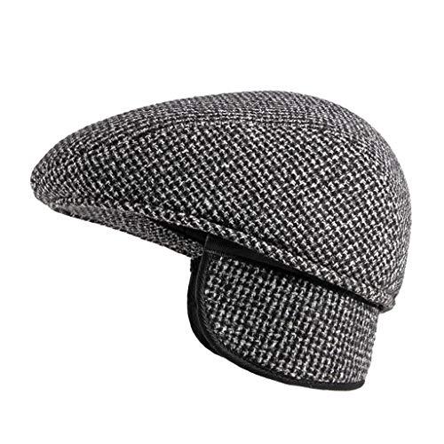 Men's Newsboy Herringbone Flat Ivy Hat Classic Vintage Winter Beret Cap Driving Hunting with Earflap
