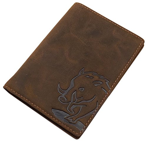 Cuero de búfalo Tarjetero para documento de Identidad con Ciervo- o jabalí-Motivo en marrón (Jabalí Motivo)
