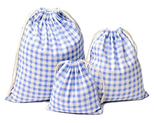 PRISM 巾着袋 (大 中 小 3点セット )コットン おしゃれ 布 小物 雑貨 (ギンガムチェック:3サイズ)