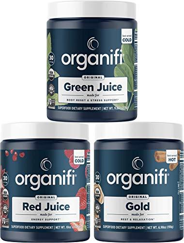 Organifi: Sunrise to Sunset Power Box (9.5 Oz. Each) - Superfood Powder - Green Juice, Red Juice, Golden Milk- 30-Day Supply - Organic - Vegan - Support Metabolism, Energy, and Sleep