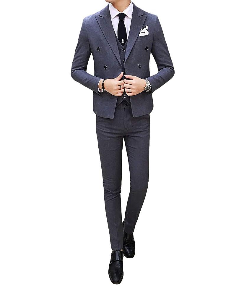 濃度毎月首相[CEEN] スーツ メンズ スリーピース ダブル 無地 おしゃれ スタイリッシュ