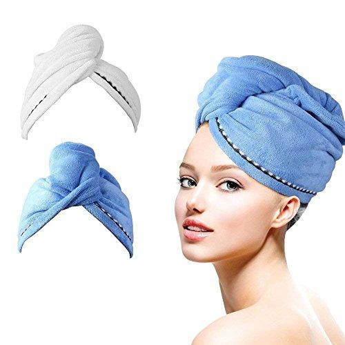 HAUEA Haar Handtuch Wrap Turban Handtuch Mikrofaser Schnelltrocknend Duschhaube Trockner Kopftuch mit Tasten Haartuch 2 Stück (Blau und Weiß)