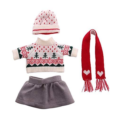 DUORUI Puppenkleidung Pullover Kleid Winter Outfit mit Strickmütze Schal für American Girl Puppe 45,7 cm Weihnachtsmuster