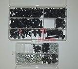 LoveMoto Juegos completos de Tornillos y Tuercas de carenado para CBR 1000 RR 06 07 CBR 1000 RR 2006 2007 Clips de fijación y Tornillos de Aluminio Negro Plata