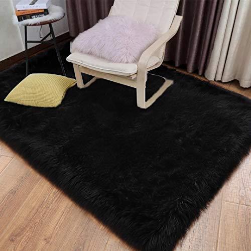 YOH Soft Faux Fur Sheepskin Area Rugs Shaggy Floor Carpets for Living Room Fluffy Bedroom Rug Girls Room Kids Room Nursery Home Decor 4 x 6 Feet, Black